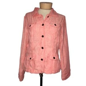 J Jill Pink Button Down Linen Chambray Jacket SP